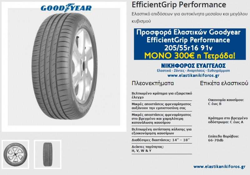 Προσφορά Ελαστικών Goodyear  EfficientGrip Performance  205/55r16 91v